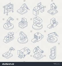 Assembly Line Design Pattern Vector Automated Production Line Isometric Thin Line Icon