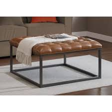 leather ottoman footstool. Interesting Ottoman Healy Saddle Brown Leather Tufted Ottoman Throughout Footstool E