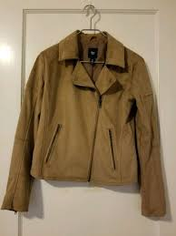 women s gap camel suede moto jacket size 6 msrp 120