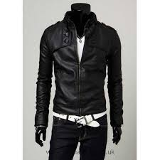 good looking leather black for men stand collar slimming ons embellished long sleeves pu coat leather