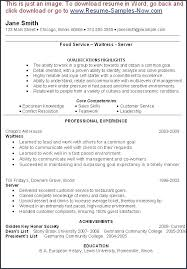 waiter resume sample fast food resume sample from restaurant waiter resume resume sample