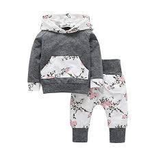 Iuhan 2pcs <b>Toddler Infant Baby</b> Boy Girl <b>Clothes</b> Set Floral Hoodie ...