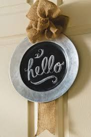 diy chalkboard and burlap wall charger plate