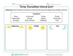 Time Transition Word Sort Worksheet Education Com