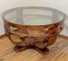 round art deco french glass top coffee table with burled