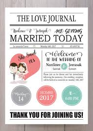 Wedding Invitation Newspaper Template Cartoon Newspaper Wedding Invitation Card Design Stock