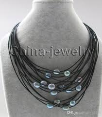 17 15rows 11 13mm black baroque freshwater pearl leather necklace