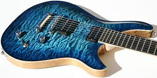 Quicksilver Guitar with Blue Burst Quilted Top - Ed Roman Guitars & Highly Quilted Maple Top Adamdwight.com