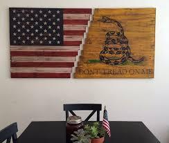 reclaimed wood american flag wall art
