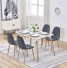 wood retro dining table and 4 chairs set fabric metal seat home kitchen office