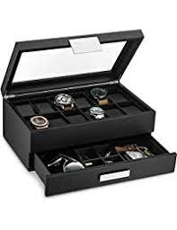 watch box with valet drawer for men 12 slot luxury watch case display organizer