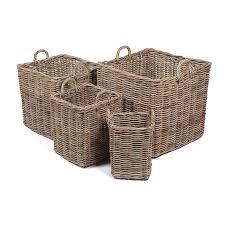 set of 4 square wicker baskets homebase