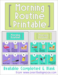 Free Morning Routine Chart Pictures Free Morning Routine Printables For Kids Money Saving Mom