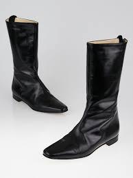 manolo blahnik black leather flat mid calf boots size 5 5 36