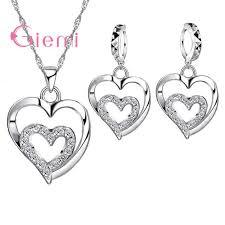 2019 romantic cz crystal heart pendant necklace huggie hoop earrings women wedding jewelry sets fine 925 sterling silver party bijoux from qualitywatch