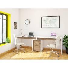 Nexera Liber-T 2 Person Desk with Filing Cabinet - White and Espresso