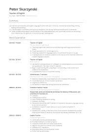 English Resume Samples English Teacher Resume Samples And Templates Visualcv