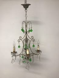 vintage italian crystal chandelier with green murano glass drops 1