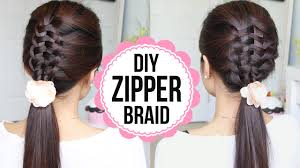 Plaiting Hair Style zipper braid hair tutorial 2 ways braided hairstyles youtube 1253 by wearticles.com