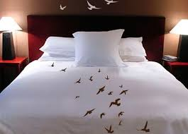 customizable shanickers handpainted birds in flight queen size duvet cover with shams plus decals
