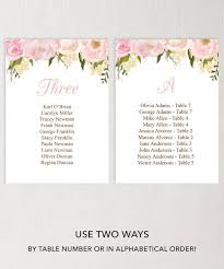 Wedding Seating Chart Template Diy Printable Wedding Table Arrangement Pink Floral Hanging Seating Chart Printable Letter A4