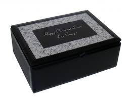 black mirror glass jewellery box personalised