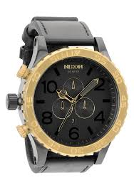 nixon the 51 30 chrono leather mens watch in black raw gold a124 nixon the 51 30 chrono leather mens watch in black raw gold a124 1036