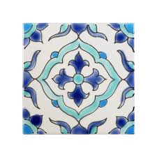 Blue And White Decorative Tiles 100 x 100 Ceramic Carthage Decorative Tile in BlueWhite 8
