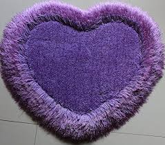 lavender single heart shaped carpet area rug with lurex 2 x 2