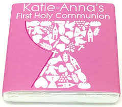 50 personalised chocolate holy munion favours pink cup