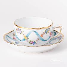 Blue Ribbon Design Tea Cup Flower Garland W Blue Ribbon