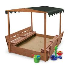 badger basket covered convertible cedar sandbox with canopy and 2 bench seats com