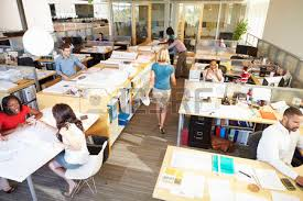 wide angle view busy design office. Interior Of Busy Modern Open Plan Office Photo Wide Angle View Design L