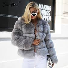 vintage fluffy faux fur coat women short furry fake fur winter outerwear pink coat 2017 autumn