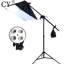 cy photography studio soft box lighting kit 240cm stand 50x70cm softbox e27 4 lamp