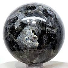 Amazon.com: 59mm <b>Larvikite</b> Sphere <b>Natural</b> Black <b>Moonstone</b> w ...