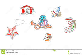 Sledstar Designs Christmas Retro Sketch Doodles Elements Sled Star Snowman
