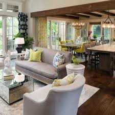 inspiration for a large transitional open concept and formal dark wood floor and brown floor living