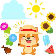 麦わら帽子をかぶった柴犬と夏のイラストセット イラスト素材 5548583