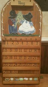 vintage wood perpetual calendar wall hanging with extra tiles 24 x 11 amish 1845696090