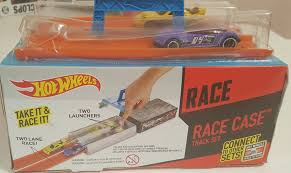 auction track hot wheels race case track set w built in dual launcher huge toys