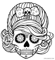 Awesome Of Day Dead Skull Coloring Page Gallery Pages Skulls Flames