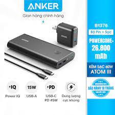 Bộ pin sạc dự phòng ANKER PowerCore+26800mAh PD 45W kèm Sạc PowerPort Atom  III 60W-B1376 - Sạc dự phòng