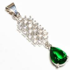 details about russian chrome diopside white topaz 925 sterling silver pendant 1 25 11