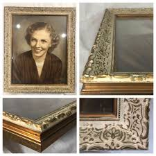 details about antique ornate carved wood 16x20 picture frame vintage white gold w glass