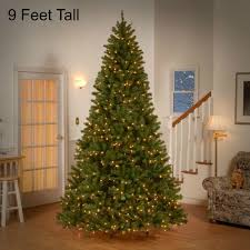 9 foot Tall Pre Lit Christmas Tree 700 Clear Lights Holiday Decor Valley