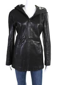 details about andrew marc womens long sleeve zip up hooded jacket black leather size small