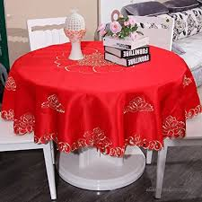 qiao jin tablecloth round tablecloths retro hotel bedside tablecloths satin material festive chinese red multi purpose