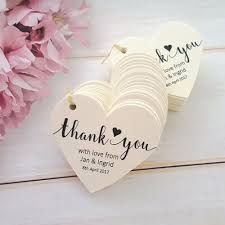 thank you tags for wedding favors personalised wedding favour tags thank you heart shape ivory white