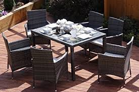 grey rattan dining table. rectangle rattan dining table with 6 chair furniture set, indoor and outdoor use (dark grey